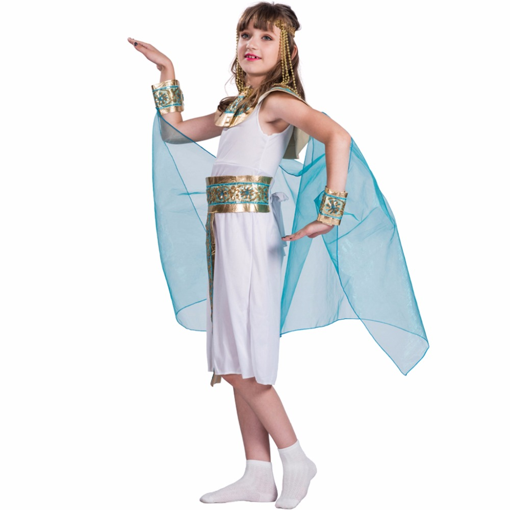 america style dress and headpiece set egyptian queen costume girl 2017 high quality cosplay costumes kids - Egyptian Halloween Costumes For Kids