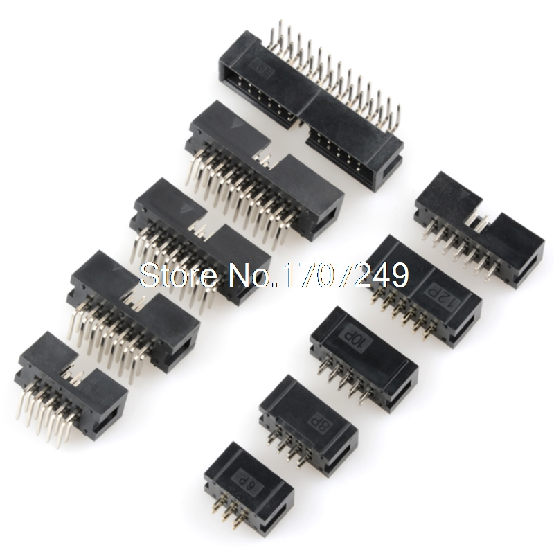 10PCS DC3 6P/8P/10P/14P/16P/20P/30P/34P/40P 2.54mm Socket Header Connector ISP Male Double-spaced Straight Needle Curved Needle