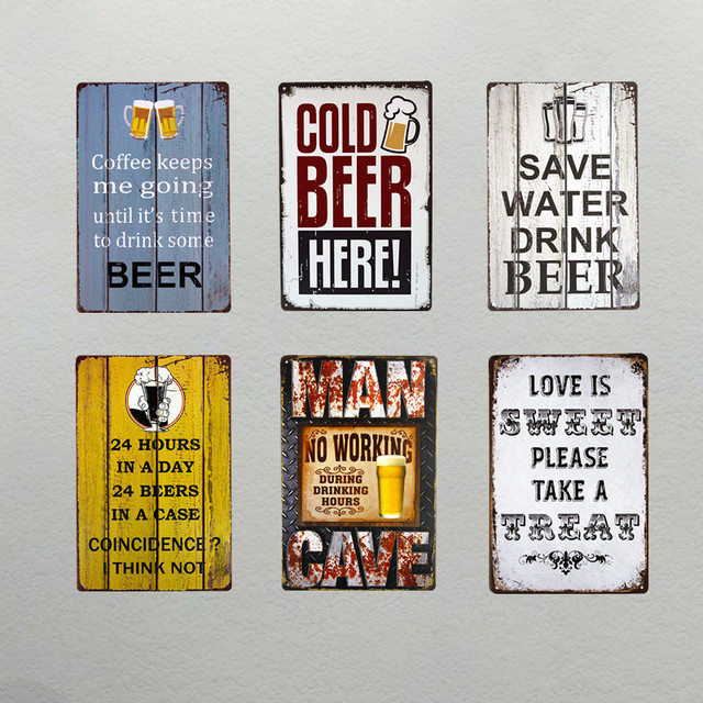 Cold Beer Here Man Cave Love Is Sweet Wall Plaque Metal Sign Living Room Decor