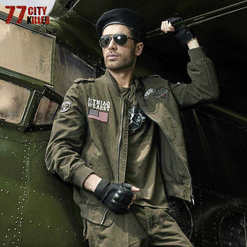 77City Killer Men 's Cotton Washed Coat 2017 Autumn Flying Tigers Air Force Outerwear Thin Plus Size Jacket For Male J2502