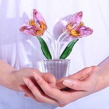 H & D אסיפה מתנת קריסטל יפה טוליפ פרחים צלמיות זכוכית אמנות משקולת נייר שולחן קישוטי מזכרת בית חתונת דקור