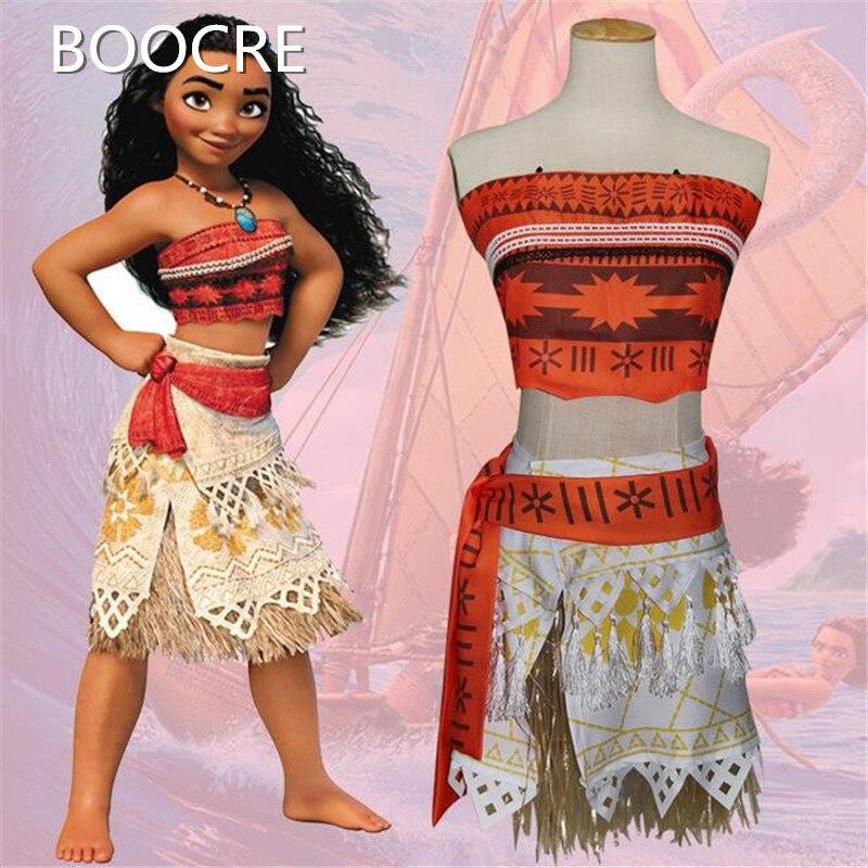 Anime Princess Moana Apparel Child Moana Princess Dress Cosplay Costume Child Adult Halloween Costume Girl Party Dress