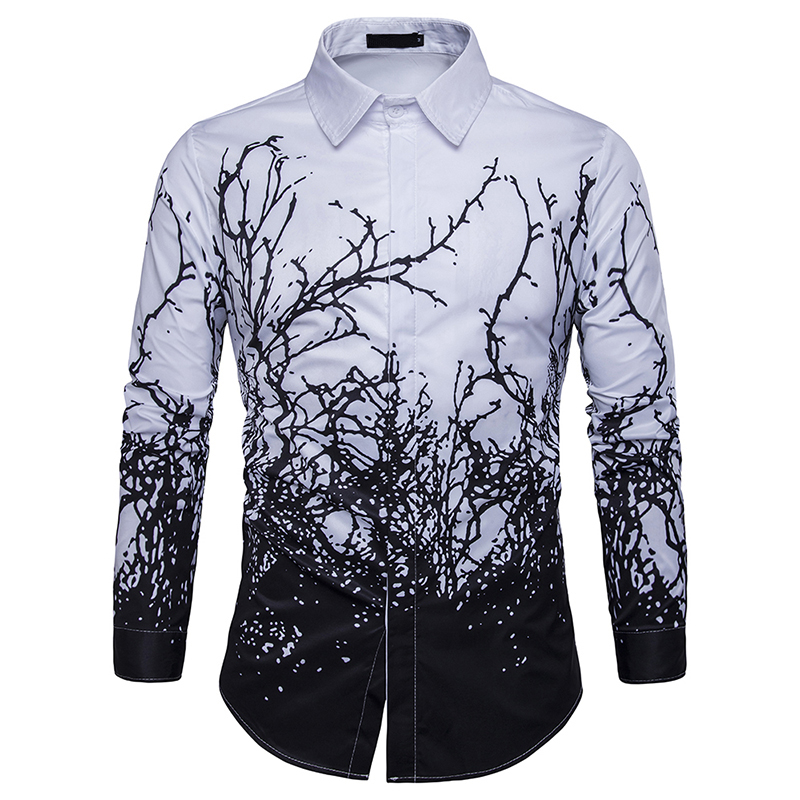 New Fashion Spring Tree Branches Printing Men Shirts Lapel Camisa Masculina With Long Sleeves Casual Style Slim Fit Man Shirt
