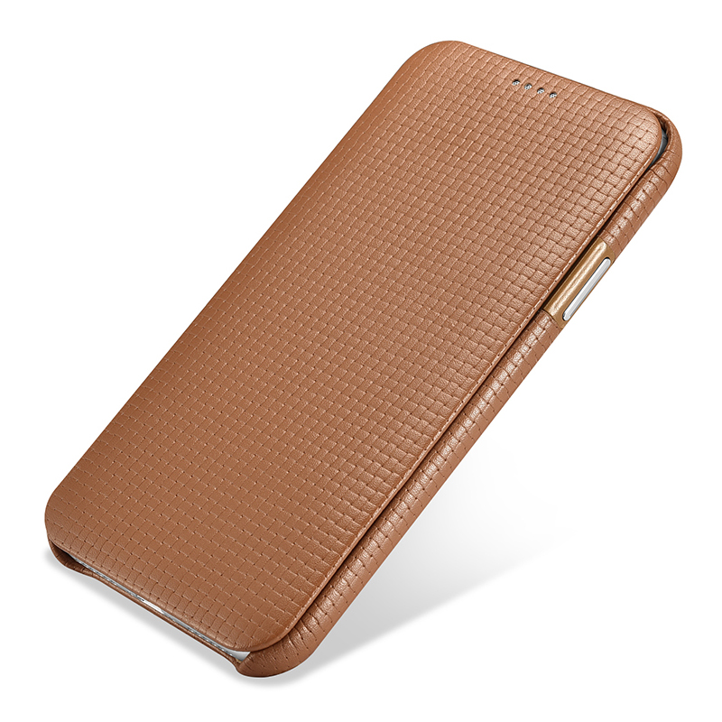 icarer for iPhone Apple X Case Curved Screen Flip Cover for iPhone XS Skin Genuine Leather Cowhide Shockproof Back Phone Case (17)