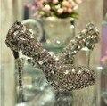 Ультра Роскошный Атласа Верхней Стилет Каблук Женщины шинни красочные rhinestone Свадебная обувь Дамы Большой Алмаз вечернее платье обувь