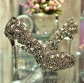 Ultra Luxurious Satin Upper Stiletto Heel Women shinny colorful rhinestone Wedding shoes Ladies Big Diamond party dress shoes