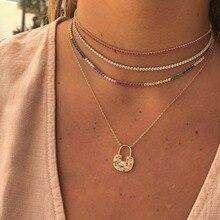d922aa245cd3 2019 nueva llegada color oro collar con arco iris tenis cz cadena cz  colorido encanto gargantilla con pequeño enlace cadena coll.