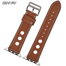 купить BEAFIRY fashion Leather Watchband For Apple Watch Series 4 44mm band for iwatch Strap 38/42mm Series 3 2 1 Brown Black Grey Blue по цене 1088.31 рублей