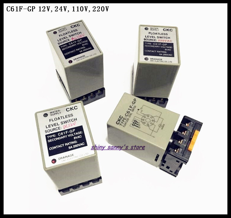2 Sets/Lot C61F-GP DC12V DC24V AC110V AC220V Water Level Controller Switch Level Relay With Socket Base Brand New 2 sets lot