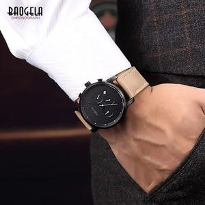Image 4 - Baogela Mens פשוט הכרונוגרף אנלוגי שחור קוורץ שעון, עור Bracelete שעוני יד עם לוח שנה תאריך עבור ילד וגבר 1705G