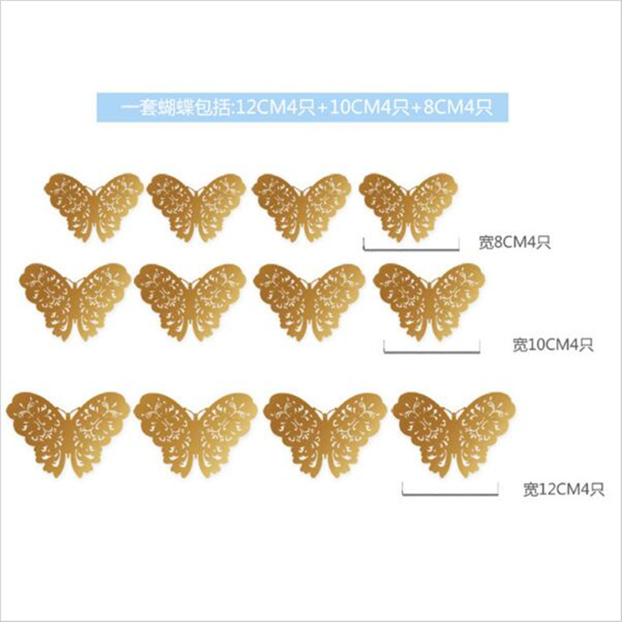 Metallic Sense Pcslot D PVC Wall Stickers Butterflies Hollow - Butterfly wall decals 3dpvc d diy butterfly wall stickers home decor poster for kitchen