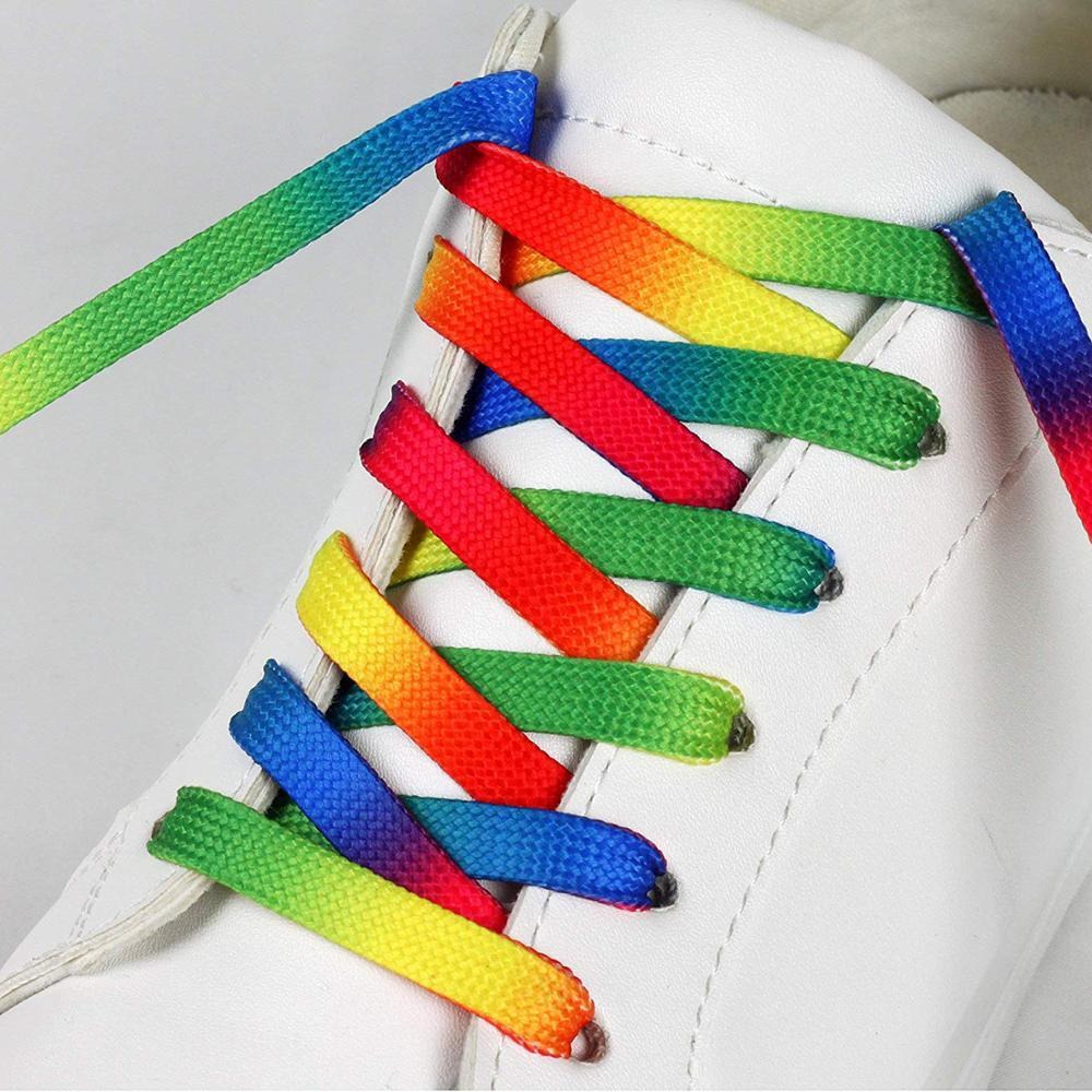 Gradient Print Flat Shoe Laces Rainbow Shoelaces Outdoor Fashion Leisure Colorful Shoelace 80CM/100CM/120CM 1 Pair