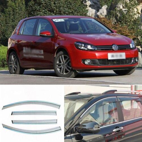 4 unids Nueva Ahumado Claro Ventana Vent Shade Visor Carenados Para VW Golf 6