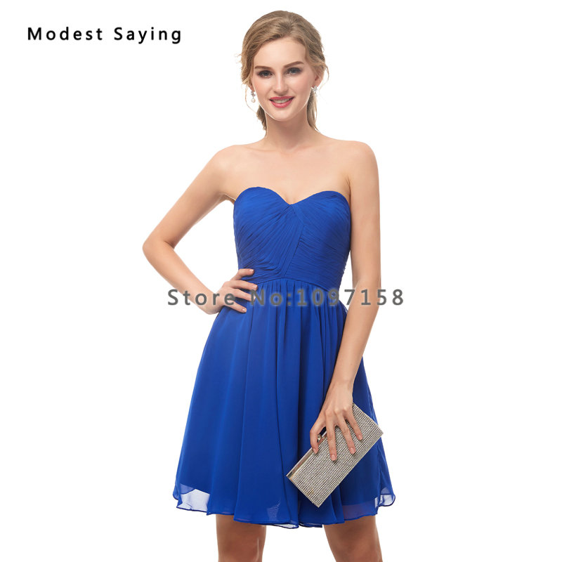 Wholesale Sexy Royal Blue Sweetheart Chiffon Bridesmaid Dresses 2019 Formal  Girls Short Pleated Maid of Honor Party Prom Gowns-in Bridesmaid Dresses  from ... d604982a80a5