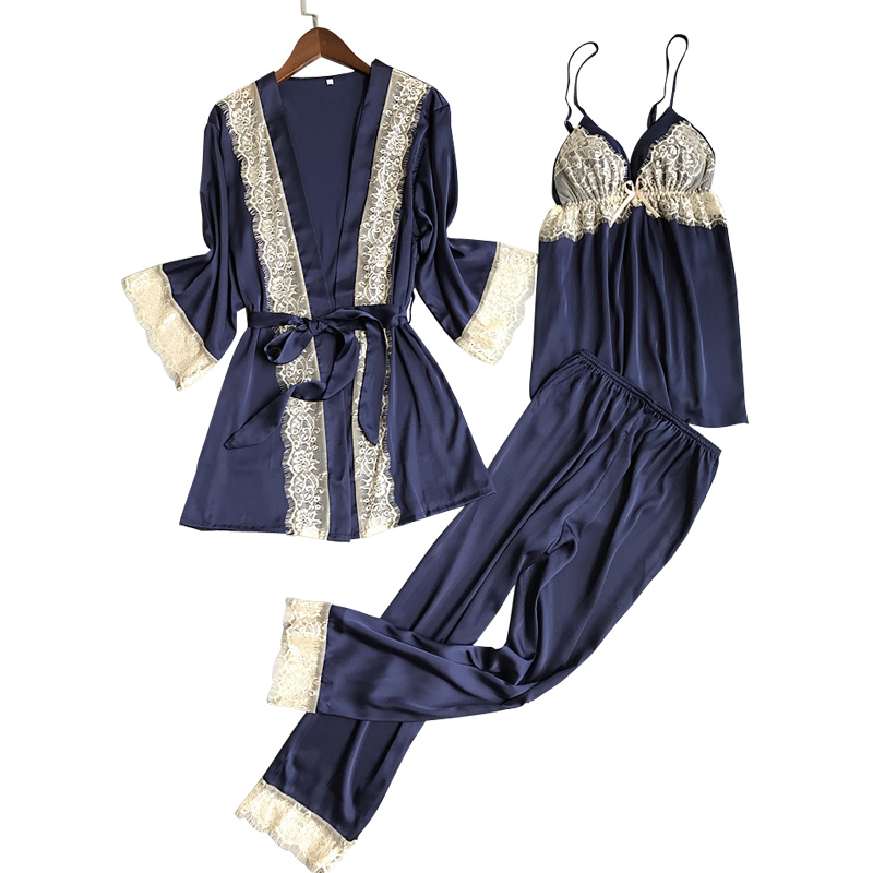 New Arrival Autumn Winter Silk Pyjamas Women Sexy Lace Bathrobe +   Pajama     Set   3 pcs Lingerie   Set   Luxury Sleepwear Nightwear