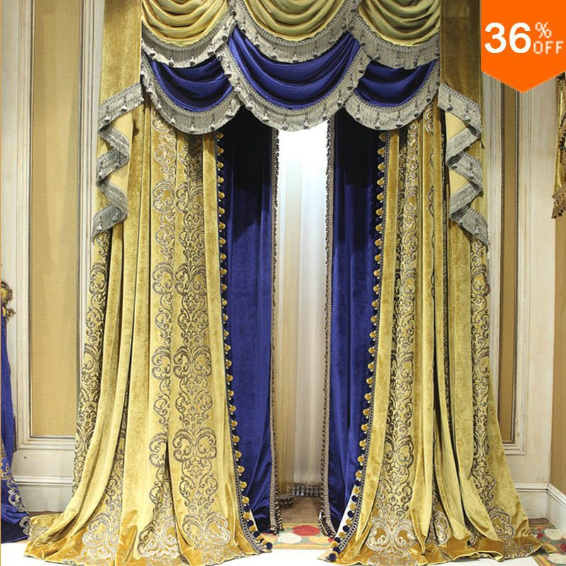 Aliexpress Com Buy Yell Ancient Blue Yellow Curtains For