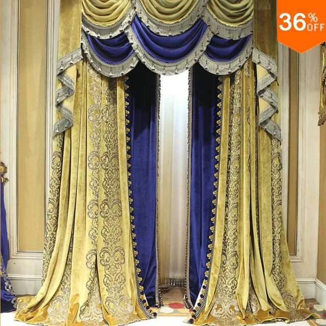 cafe curtains for living room color aliexpress.com : buy yell ancient blue yellow ...