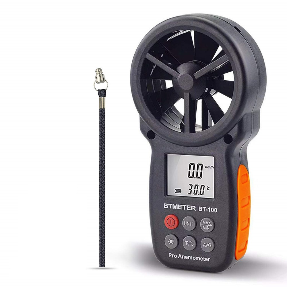 BT-100 Digital Anemometer Handheld Wind Speed Meter for Measuring Wind Speed, Temperature and Wind Chill with Backlight LCD