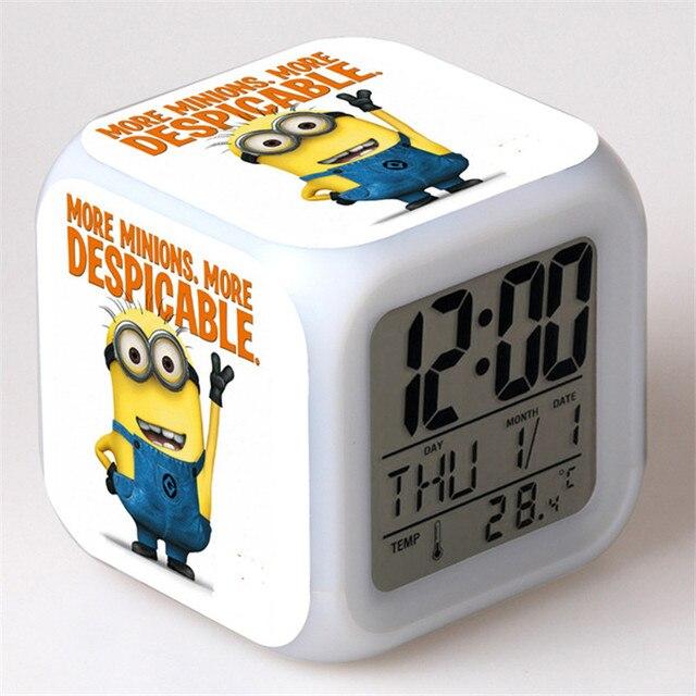 Small Yellow People Alarm Clock Led 7 Color Flash Digital
