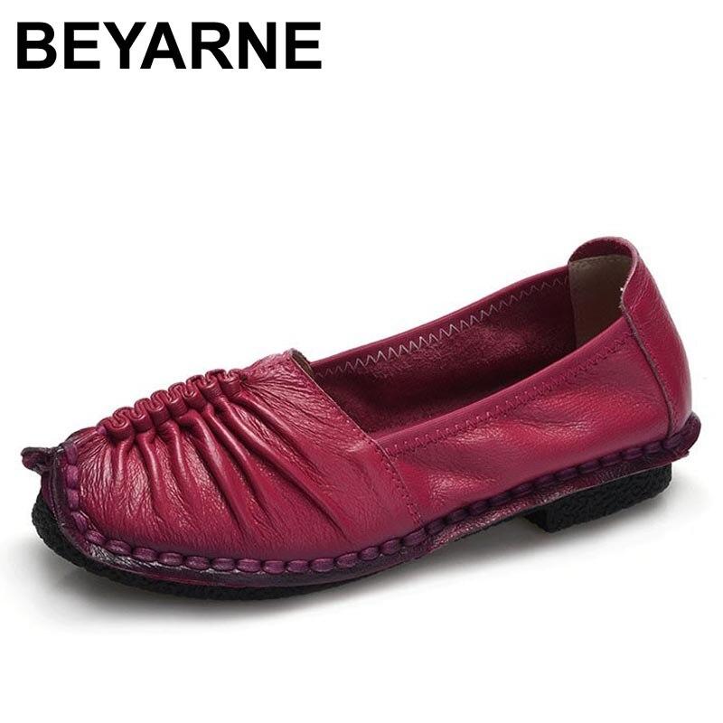 Beyarne moda mocasines zapatos de las mujeres zapatos de cuero genuinos hechos a