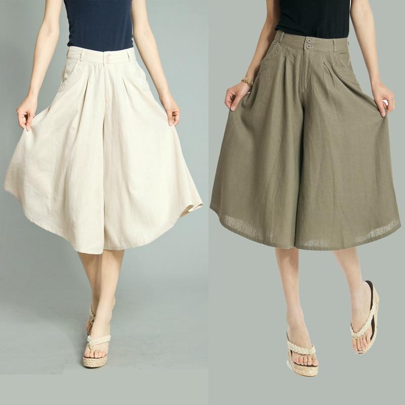 Linen Capris Plus Size - The Else