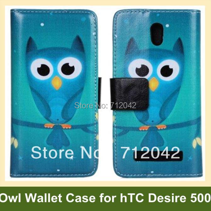 Cute Animal Flip Cover Case for hTC Desire 500 PU Leather Owl Pattern Wallet Case for hTC Desire 500 Free Shipping