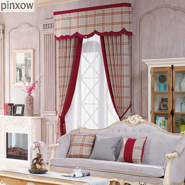 Rot Karierten Vorhang Für Schlafzimmer Luxus Chenille Starke ...