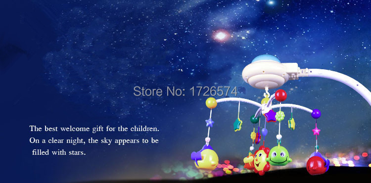1pcs/set Classic Toys Rotating Musical Rattles Mobile Stars Hanging Bed Bell Baby Rattle Toys With Lights Patterns Flash 70*64cm