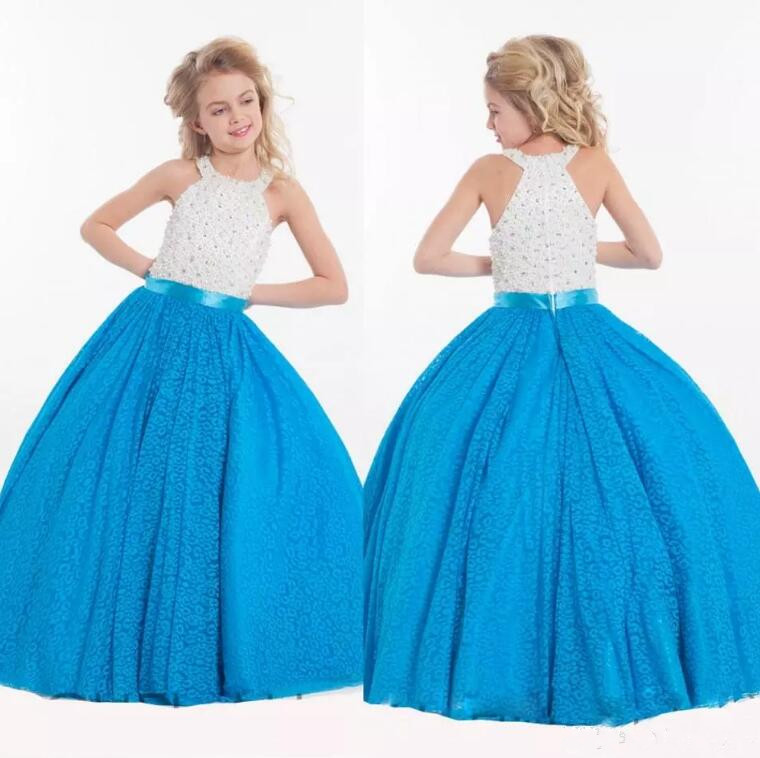 New Customized Shiny Flower Girl Dresses For Wedding Crystal Pearls Ball Gown Pageant Dresses For Girls Any Size 4pcs new for ball uff bes m18mg noc80b s04g