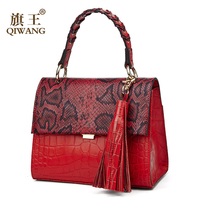 Qiwang Brand Small Genuine Leather Shoulder Bag For Women Messenger Bags Ladies Retro Leather Handbag Purse With Tassels Female