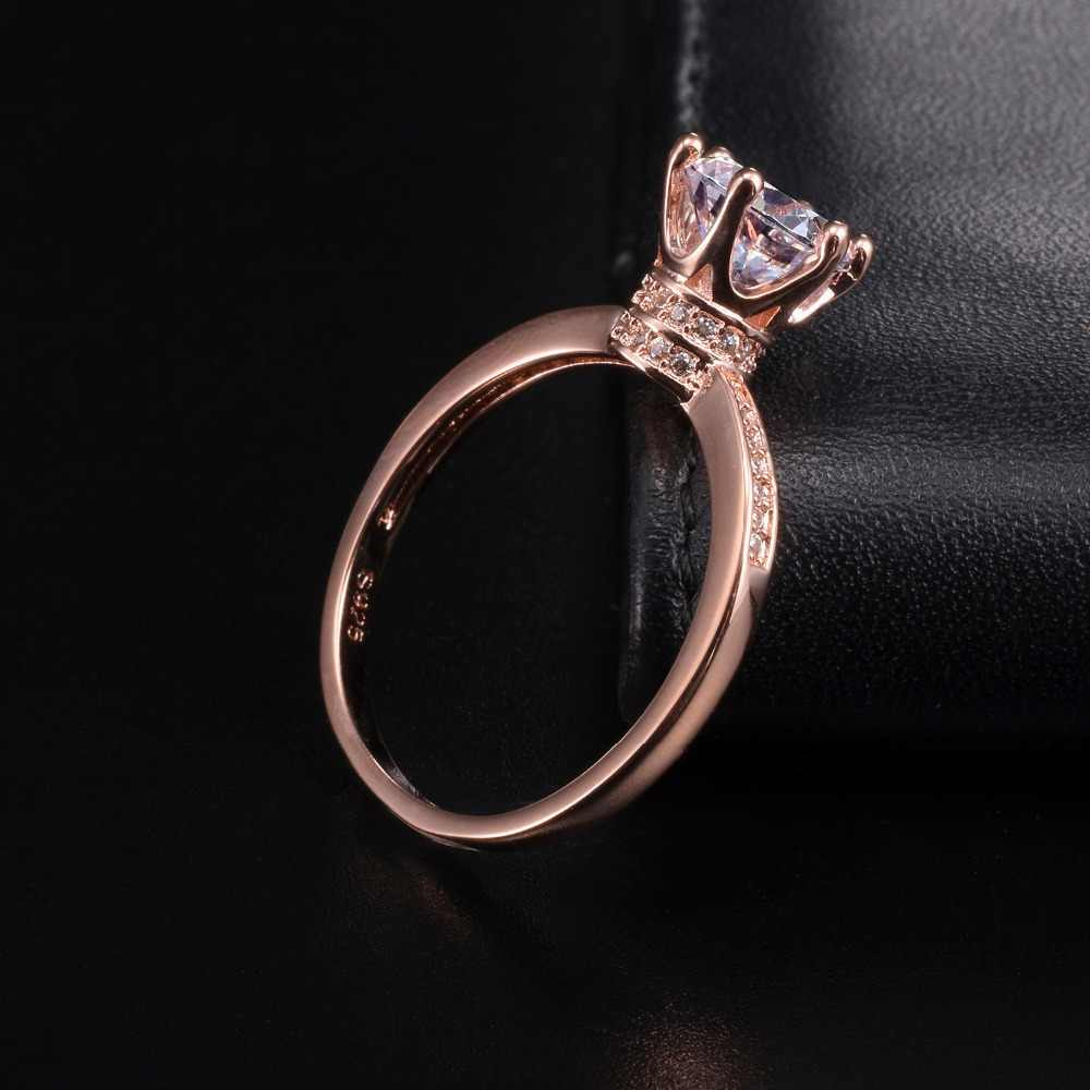 โปรโมชั่น!!! 6 $ Solid 100% 925 Silver & rose gold แหวนมงกุฎเครื่องประดับสำหรับผู้หญิง 1.2ct จำลองเพชรแหวน