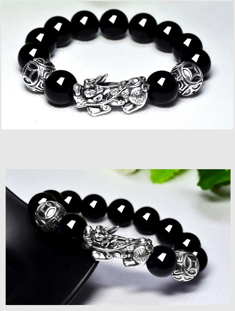 Image 4 - 3D 999 Silver Pixiu Beads Bracelet Obsidian Beaded Wealth Pixiu  Bracelet Fengshui Good Luck BraceletStrand Bracelets