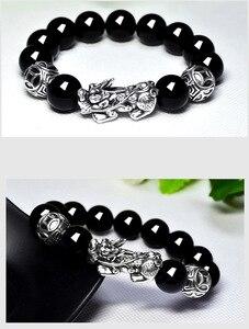 Image 4 - Bracelet à perles feng shui en argent 999, bijou à perles obsidienne pour la richesse, Pixiu, porte bonheur