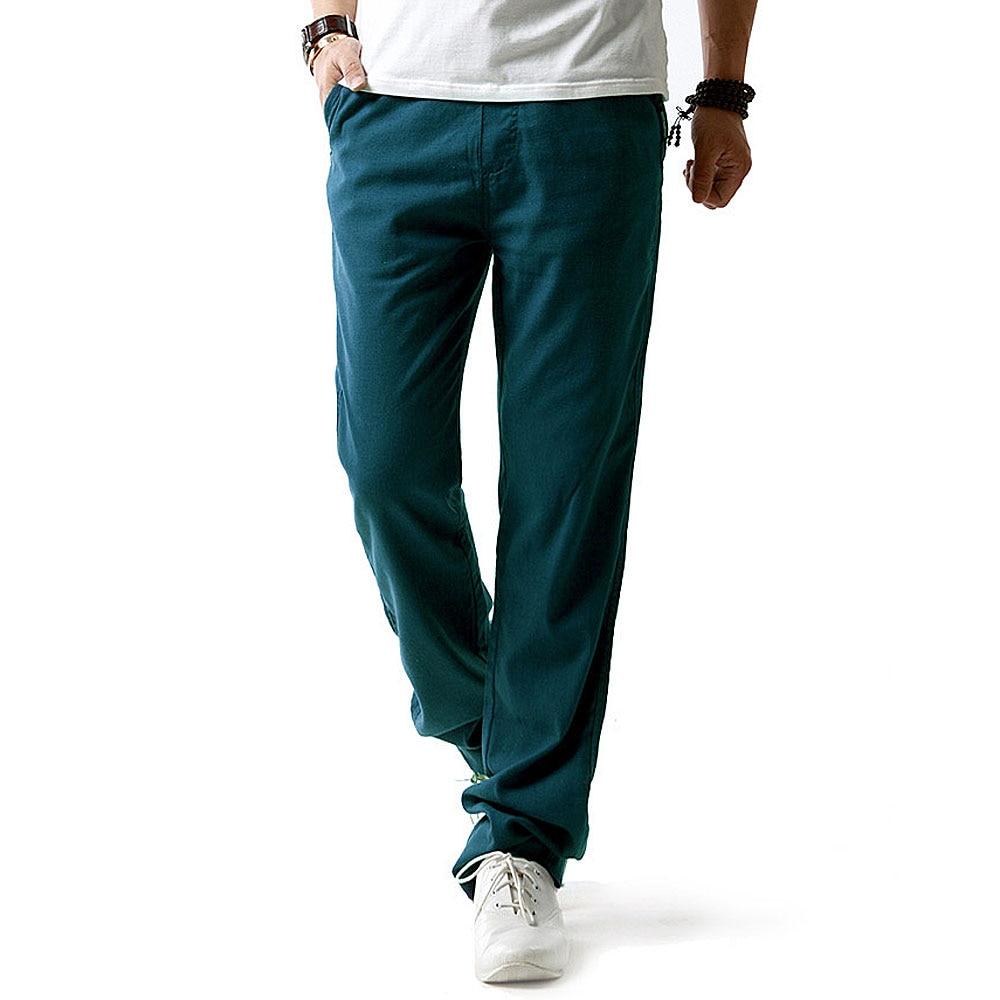 Бесплатная доставка новые летние мужчины белье брюки удобные дышащие влагу cool мужские брюки jogger брюки случайные прямые брюки