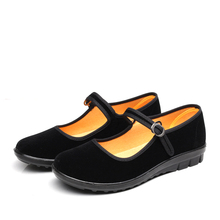 Woman in black Mary Jane shoes flat comfortable etiquette / free shipping in spring and autumn with suede buckle shoes for women