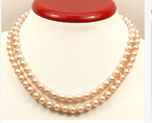 """ELEGANT38""""9-10MM SOUTH SEA NATURAL GOLD PINK PEARL NECKLACE925 silver"""