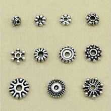 50 pièces en alliage de marguerite et d'espacement flocons de neige de Style tibétain, perles métalliques pour la fabrication de bijoux, 7 ~ 10mm de diamètre en argent Antique