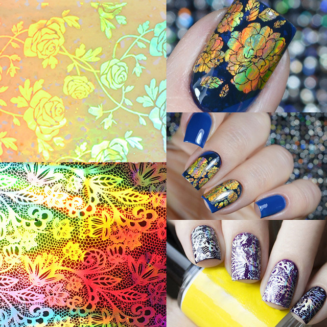 Gold Foil Holographic Nail Sticker