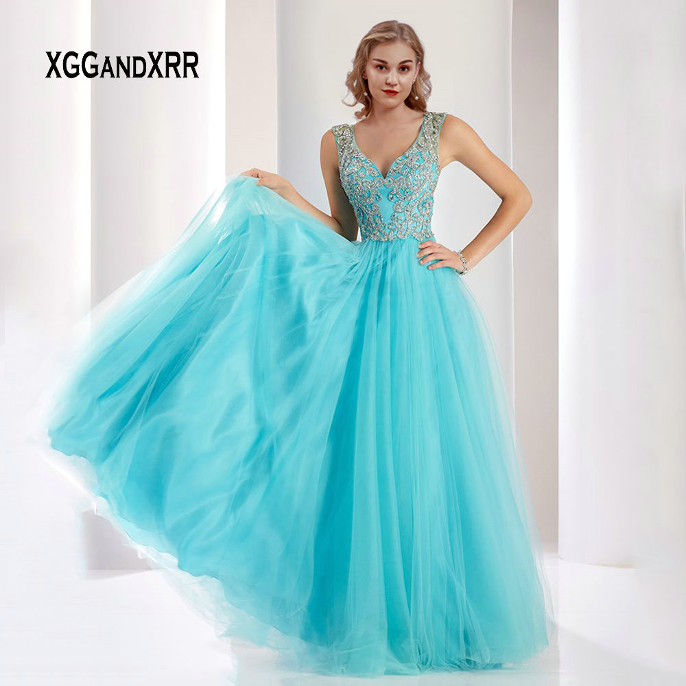 Bleu ciel robe de bal 2019 col en V luxe perles cristal trou de serrure retour longue soirée robe de soirée dame Gala robe de soirée grande taille