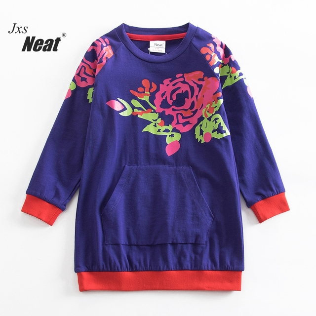 26f7d8b67bf NEAT Spring and autumn girl dress o-neck 100% pure color child clothes  embroidered