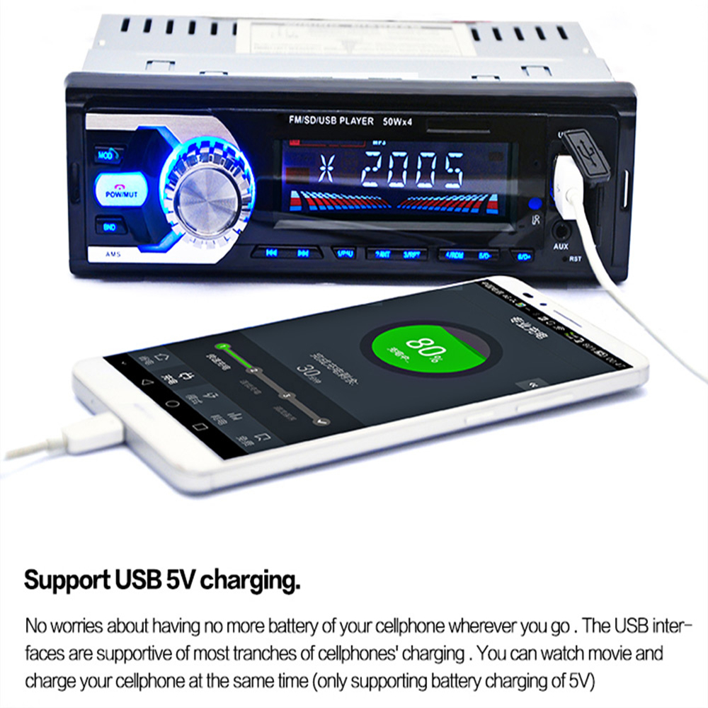 Car Radio Auto Audio Stereo FM SD WMA WAV MP3 Player AUX Input Bluetooth Receiver USB Handsfree Call for Vehicle Remote Control