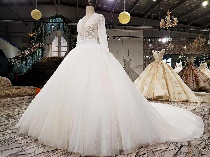 LS27790 2018 новый свадебный вечер V-образным вырезом кружева моды цветок картины бисером элегантный длинным рукавом макси свадебное платье с длинным поездом