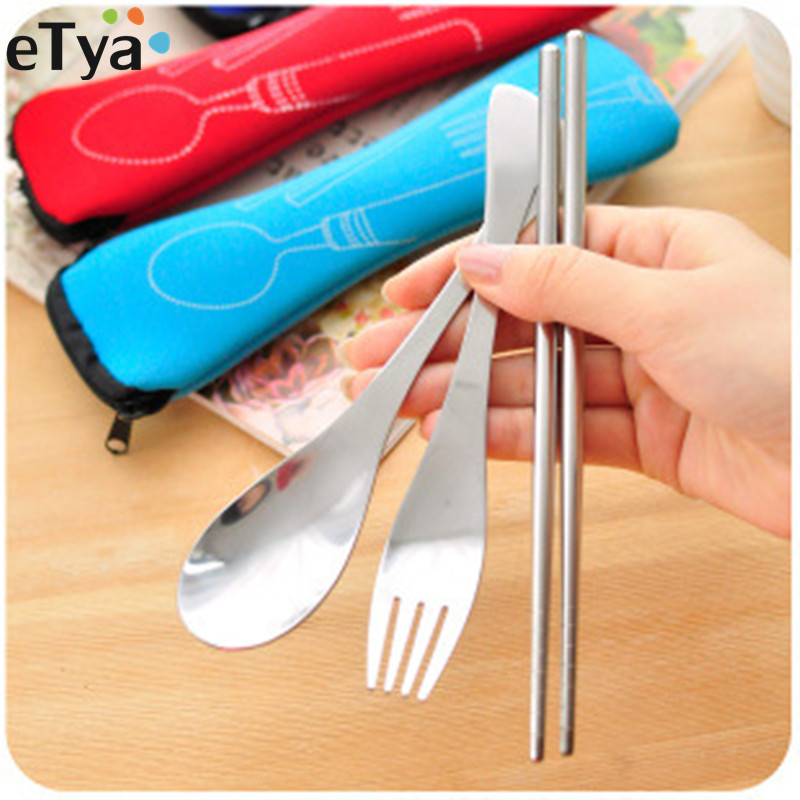 4PCS/Set ETya Men Women Portable Travel Packing Organizer For Stainless Steel Tableware Spoon Bags Travel Accessories