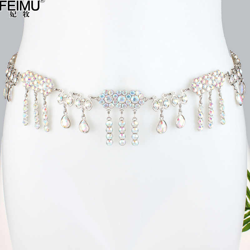 Cinturón de Metal para mujer falda para niña con borla de flores cinturón de adorno moderno Sexy taladro de agua cristal cintura cinturón B9022