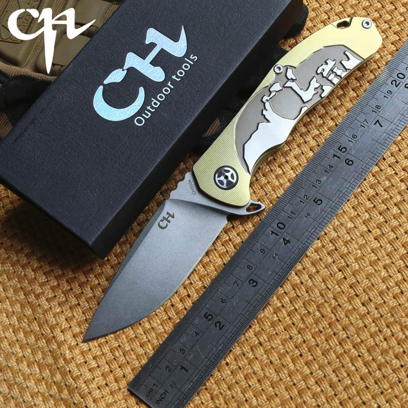 CH 3504 original design Flipper folding knife S35VN blade ball bearings Titanium handle camping hunting outdoor knives EDC tools