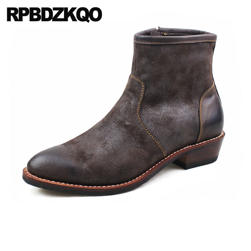 European Cowboy Boots Mens Genuine Leather Ankle Chunky Western Autumn Shoes British Style Cowgirl Zipper Pointed Toe Full Grain