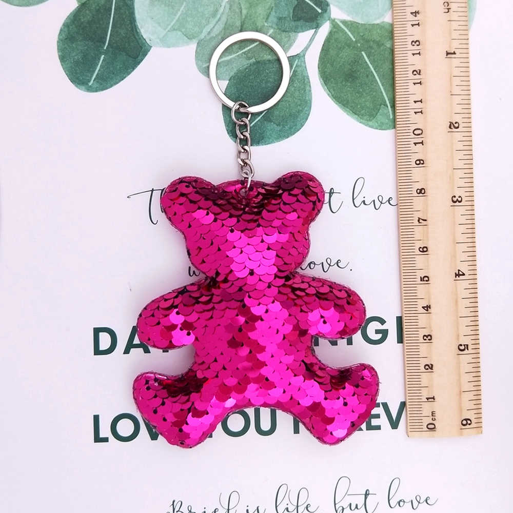 ... 9 8CM Anime Bear Keychain Color Changing Glitter Sequins Cartoon Car  Keyrings For Women Handbag ... 16e900338adc