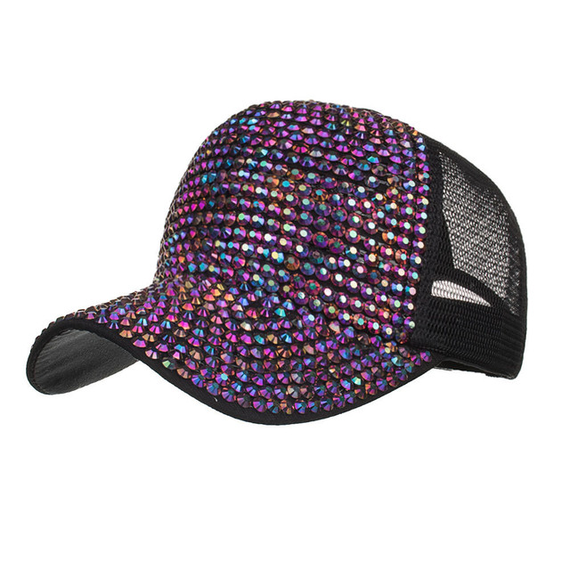 Bling Diamond Hat Mesh caps Baseball Caps Summer Hats liverpool Cotton  Rhinestone Hats Female Casual Solid Adjustable Cap 75ff0ada312