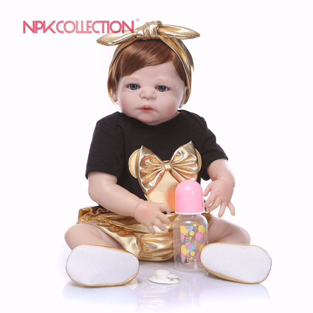 55cm Full Silicone Body Lifelike Reborn Baby Doll Toy For Girls Handmade Newborn Bebe Alive Baby Toy Xmas Gifts Birthday Present