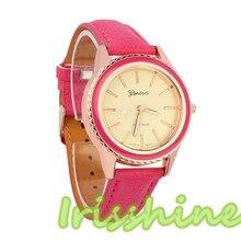 Irisshine A109 mulheres Relógios de Moda Vogue das Mulheres Do Falso Couro Analógico de Pulso de Quartzo Relógio de Senhora Menina